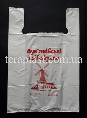 Пакет майка с логотипом 220+(70х2)380, 15 мкм печать 1 цвет, фото 3