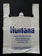 Пакет майка с логотипом     240+(70х2)450,20 мкм Печать 1 цвет