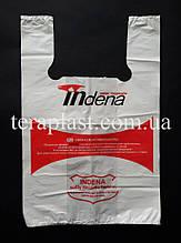 Пакет майка с логотипом 280+(80х2)450, 15 мкм печать 1 цвет