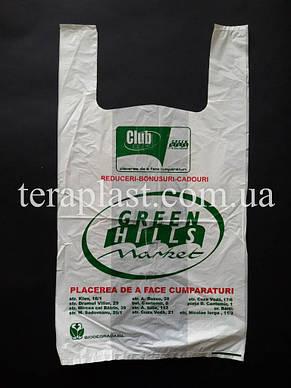 Пакет майка с логотипом 280+(80х2)450, 20 мкм печать 1 цвет, фото 3