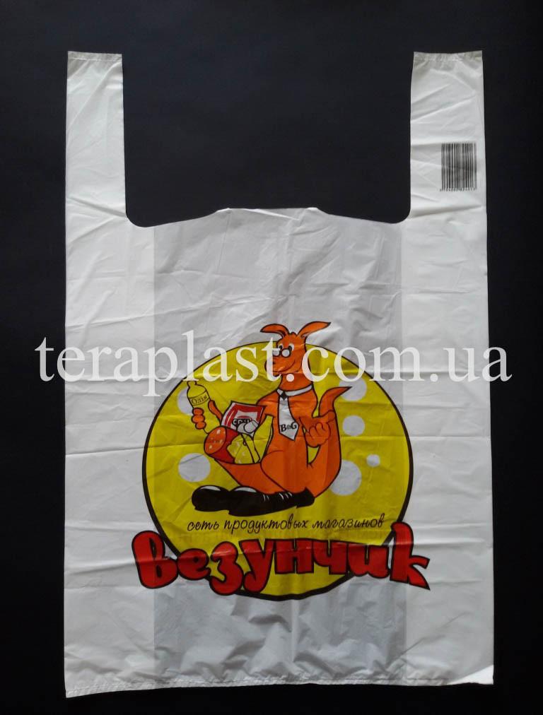 Пакет майка с логотипом 280+(80х2)450, 20 мкм печать 1 цвет