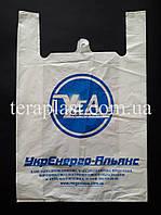 Пакет майка с логотипом 440+(100х2)800,40 мкм Печать 1 цвет