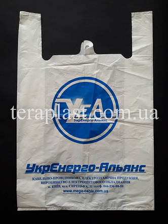 Пакет майка с логотипом 440+(100х2)800,40 мкм Печать 1 цвет, фото 2