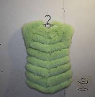 Детский Песцовый Меховой Жилет из хвостов Яркий Модный Стильный Зеленый (Салатовый)