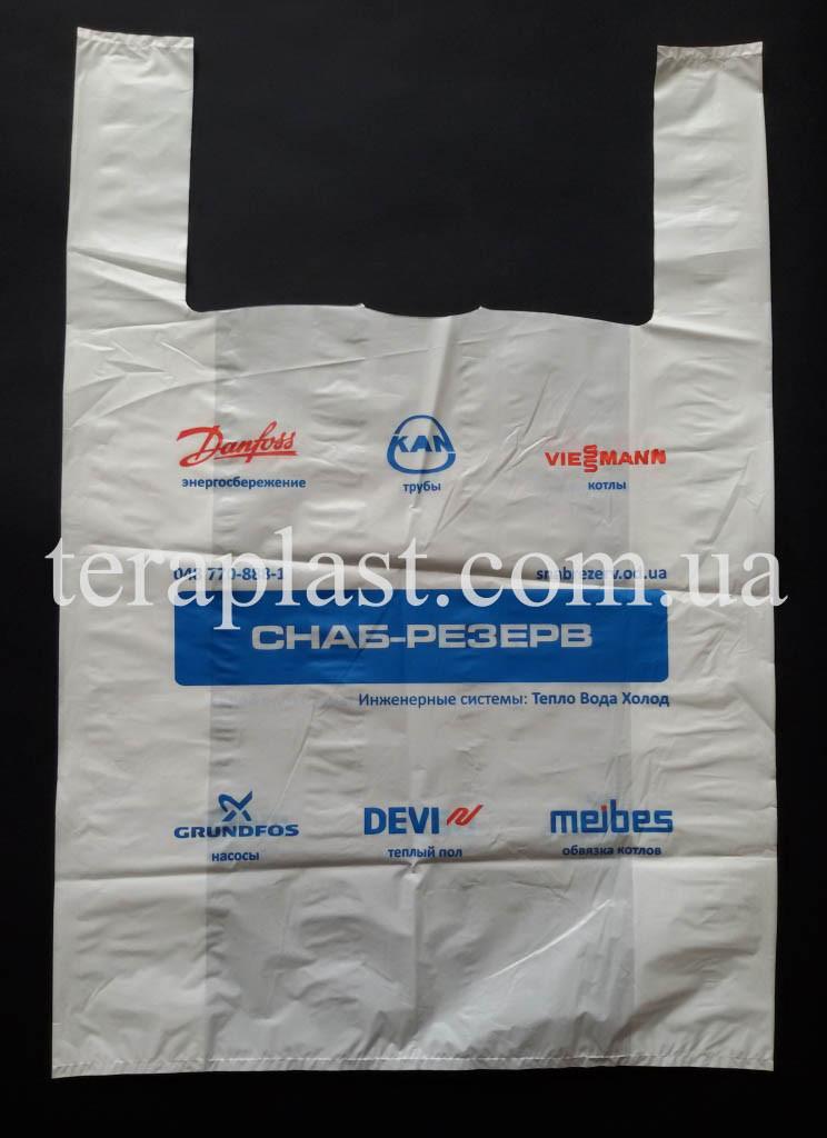Пакет майка с логотипом 430+(100х2)680,35 мкм Печать 1 цвет