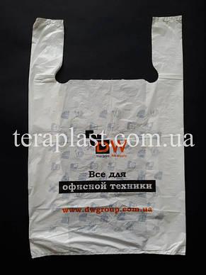 Пакет майка с логотипом 400+(90х2)600,30 мкм Печать 1 цвет, фото 3