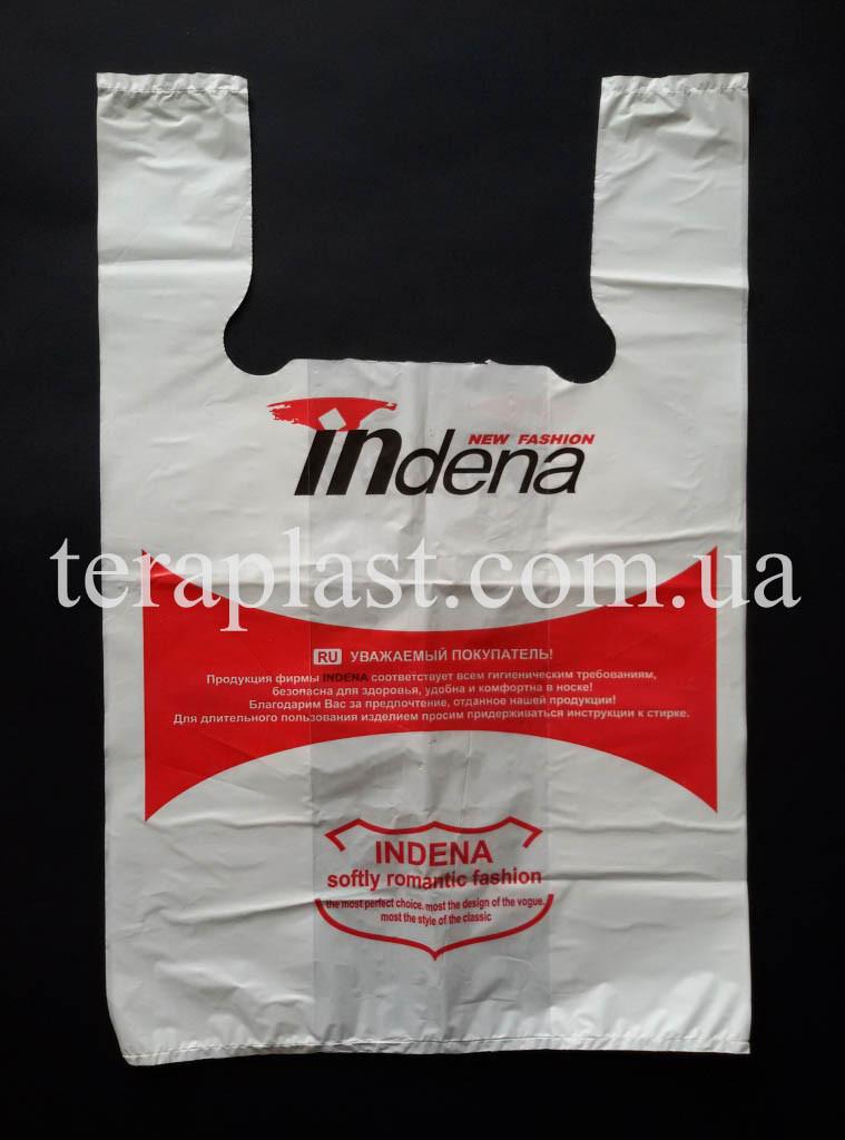 Пакет майка с логотипом 400+(90х2)600,30 мкм Печать 1 цвет