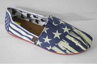 """Модные текстильные мокасины женские. Расцветка """"Американский флаг"""" 38,39,40,41,42р."""