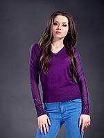 Женский модный трикотажный фиолетовый свитер с рукавами-сетка. Арт-1326/84