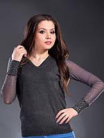 Женский модный трикотажный серый свитер с рукавами-сетка. Арт-1326/84