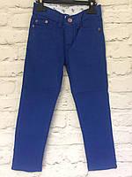 Штаны синие хлопковые для мальчиков на рост 128-152