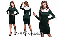 Красивое женское облегающее зеленое платье с длинными рукавами и съемным воротником. Арт-1329/84