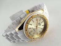 Часы женские Q@Q  кристаллы, цвет золотистый, браслет керамопластик, водозащита, IPG, GQ13J010Y, фото 1