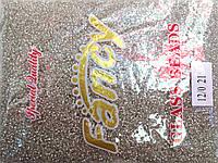 Бисер мелкий 450грм в упаковке, цвет  белый-серебро