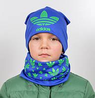 Качественный подростковый набор шапка и хомут для мальчика