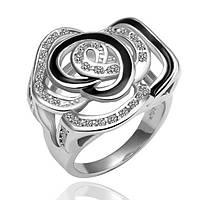 Кольцо покрытие платина 18К Роза проба 17