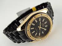 Часы женские Q@Q  кристаллы, цвет золотой с черным, браслет керамопластик, водозащита, IPG, GQ13J002Y
