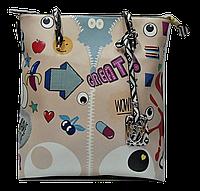 Женская сумка из искусственной кожи бежевого цвета PVX-600344
