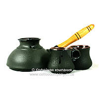 Кофейный набор турка плоская 350мл чашки 2*100мл керамические Стандарт 9333