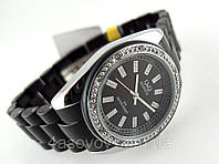 Часы женские Q@Q  кристаллы, цвет серебро с черным, браслет керамопластик, водозащита, IPG, GQ13J202Y