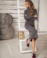 Платье миди с воротником-стойка и накладными карманами