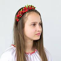 Обруч для девочки с красными цветами