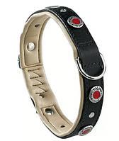 Кожаный ошейник для собак с заклепками GIOTTO BLACK C 20/34