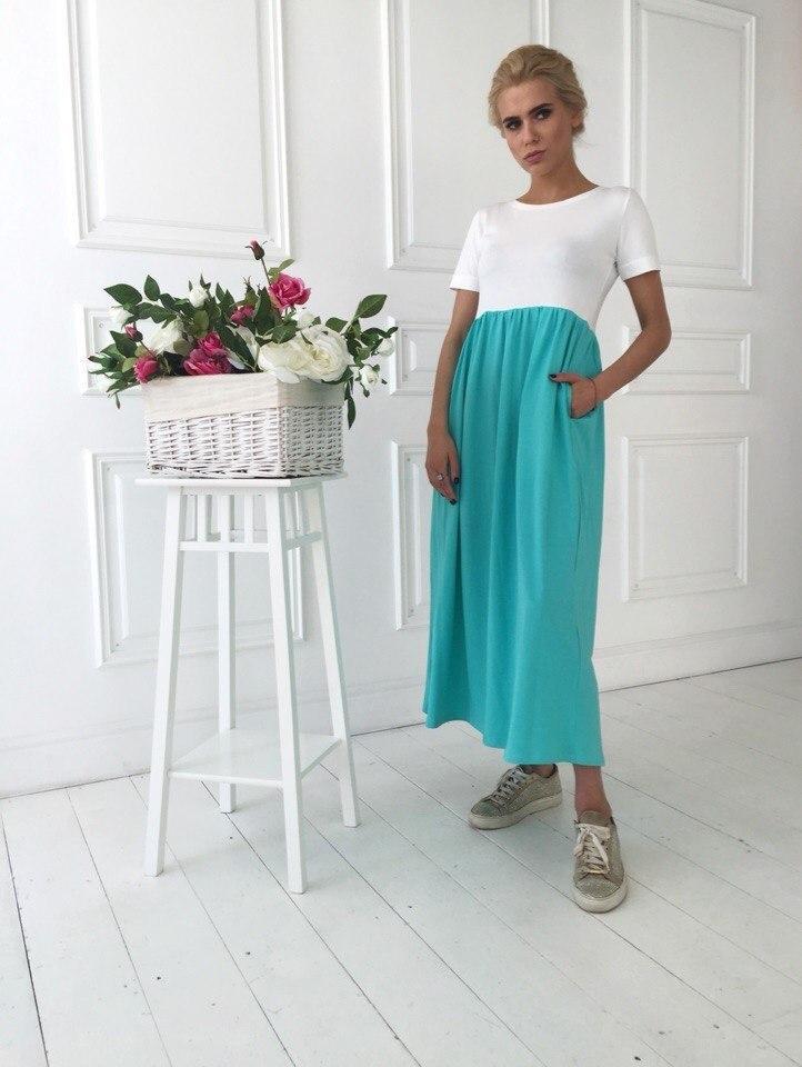 Двухцветное платье миди с карманами