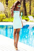 Летнее короткое бирюзовое платье Дона Jadone Fashion 42-48 размеры