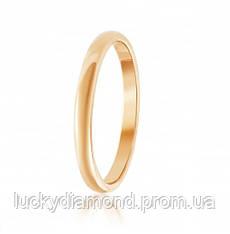 Класическое золотое обручальное кольцо 3мм шириной
