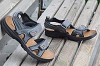Босоножки, сандали на липучках мужские удобные серые искусственная кожа 2017
