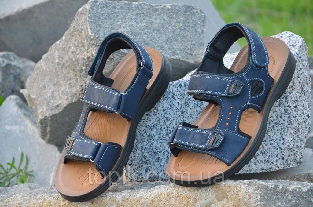 Босоножки, сандали на липучках мужские удобные темно синие искусственная кожа (Код: 677)