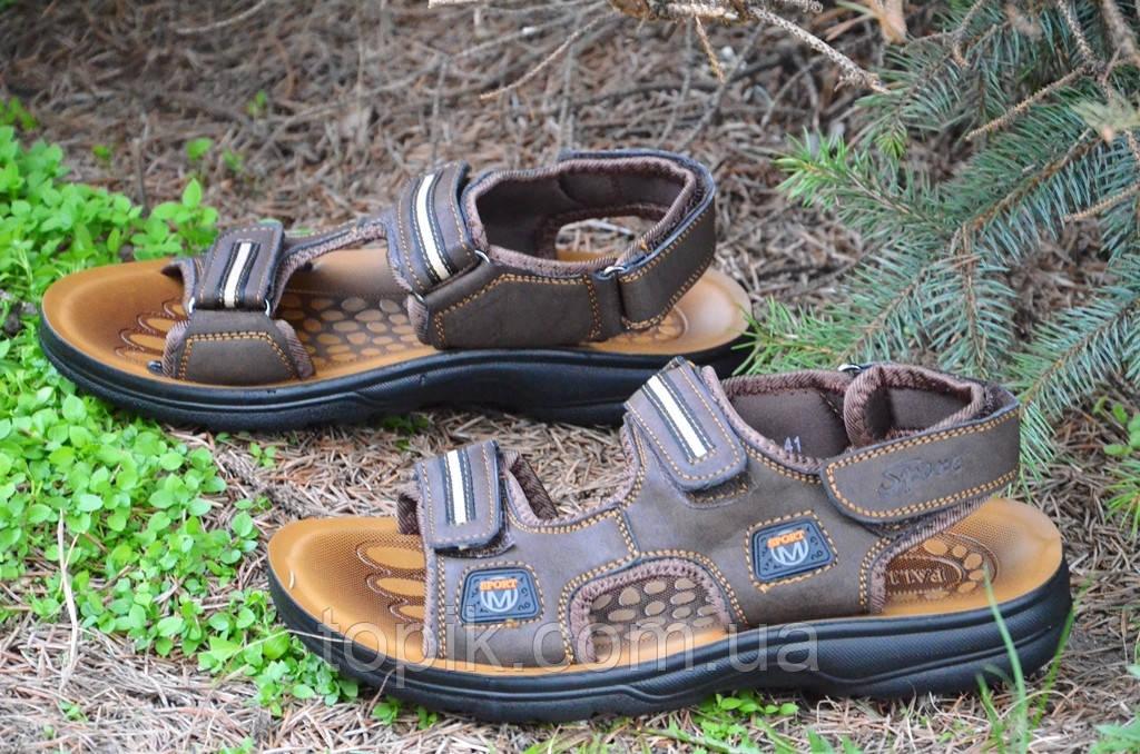 Босоножки, сандали на липучках мужские удобные коричневые искусственная кожа (Код: 679). Только 42р!