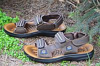 Босоножки, сандали на липучках мужские удобные коричневые искусственная кожа (Код: 679). Только 42р!, фото 1