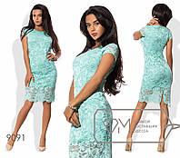 Нарядное гипюровое платье до колен ментолового цвета ТМ Фабрика моды норма ( р. 42-46 )