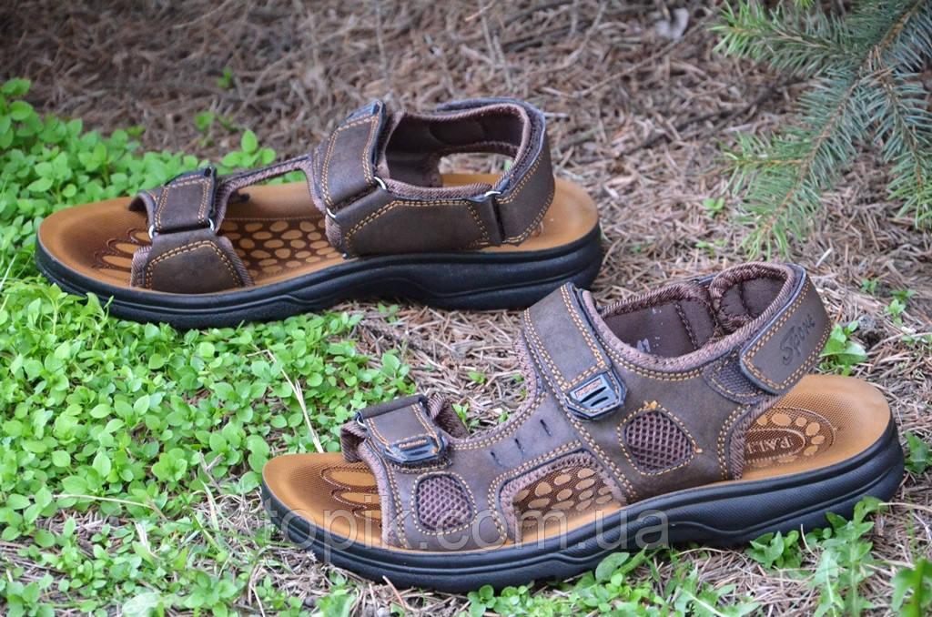 Босоножки, сандали на липучках мужские стильные коричневые искусственная кожа (Код: 681). Только 42р!