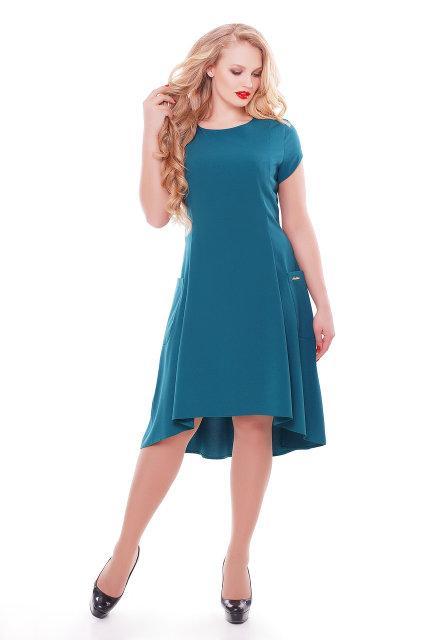 Женское платье Милана короткий рукав цвет бирюза размер 50-56 / большого размера