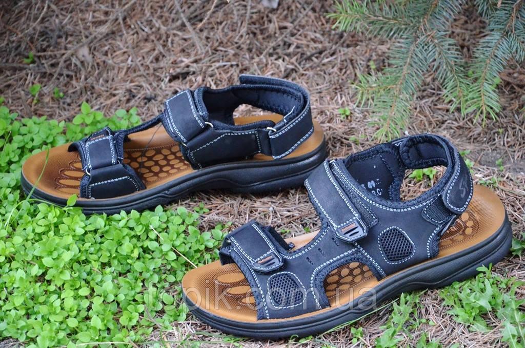 Босоножки, сандали на липучках мужские комфортные черные искусственная кожа (Код: 682)