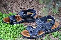 Босоножки, сандали на липучках мужские комфортные черные искусственная кожа 2017
