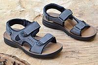 Босоножки, сандали на липучках мужские комфортные серые искусственная кожа (Код: 683)