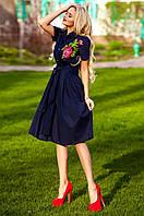 Женское темно-синее платье Флори  Jadone Fashion 42-48 размеры