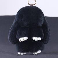 Брелок-кролик из натурального меха - черный 18 см