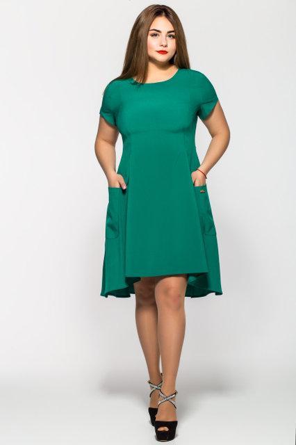 Женское платье Милана короткий рукав цвет мята размер 50-56 / большого размера