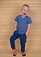 Штаны спортивные детские синего цвета из футера