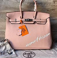 Кожаная, шикарная, брендовая сумочка HЄermes розовый и беж