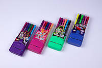 Фломастери 12 кольорів в пластиковій колбі №1998-12, забарвлення мультяшки., фото 1
