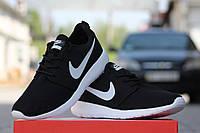 Мужские кроссовки Nike Roshe Run, сетка, черно белые/  кроссовки для зала  мужские Найк Роше Ран, стильные
