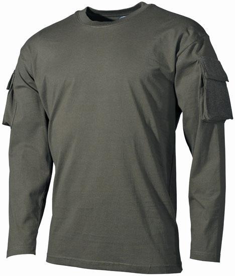 Тактическая футболка (S) спецназа США с длинным рукавом, тёмно-зелёная, с карманами на рукавах, х/б MFH 00123B