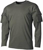 Тактическая футболка (M) спецназа США с длинным рукавом, тёмно-зелёная, с карманами на рукавах, х/б MFH 00123B