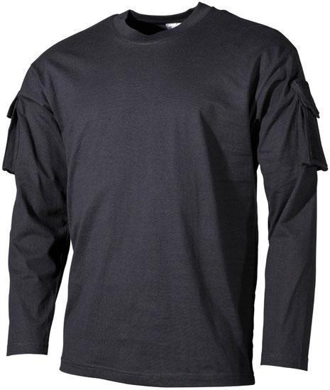 Тактическая футболка (M) спецназа США с длинным рукавом, чёрная, с карманами на рукавах, х/б MFH 00123A
